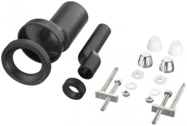 PE-Wand-WC-Anschlussgarnitur DN 110/110. Etagiert um 2,5cm , mit zwei weissen und zwei verchromten D