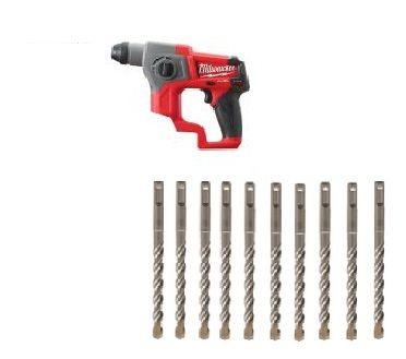 Milwaukee M12CH-0 Akku-Bohrhammer + 10 Stück Milwaukee 4-Schneidenbohrer