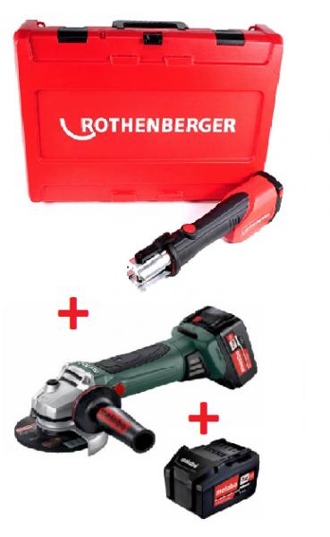 Rothenberger Romax 4000 Basic und Metabo Akku-Winkelschleifer + Ladegerät + 2 Akkus + Koffer
